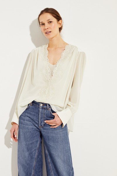 Seiden-Bluse mit Lace-Detail Light Grey