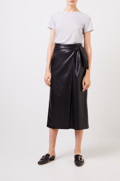 Leatherette wrap skirt 'Amas' Black