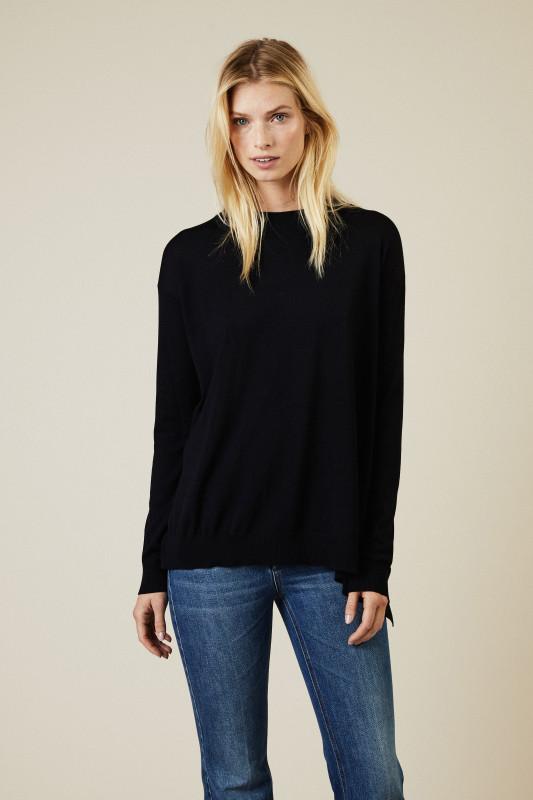Oversize Woll-Pullover Dunkelblau