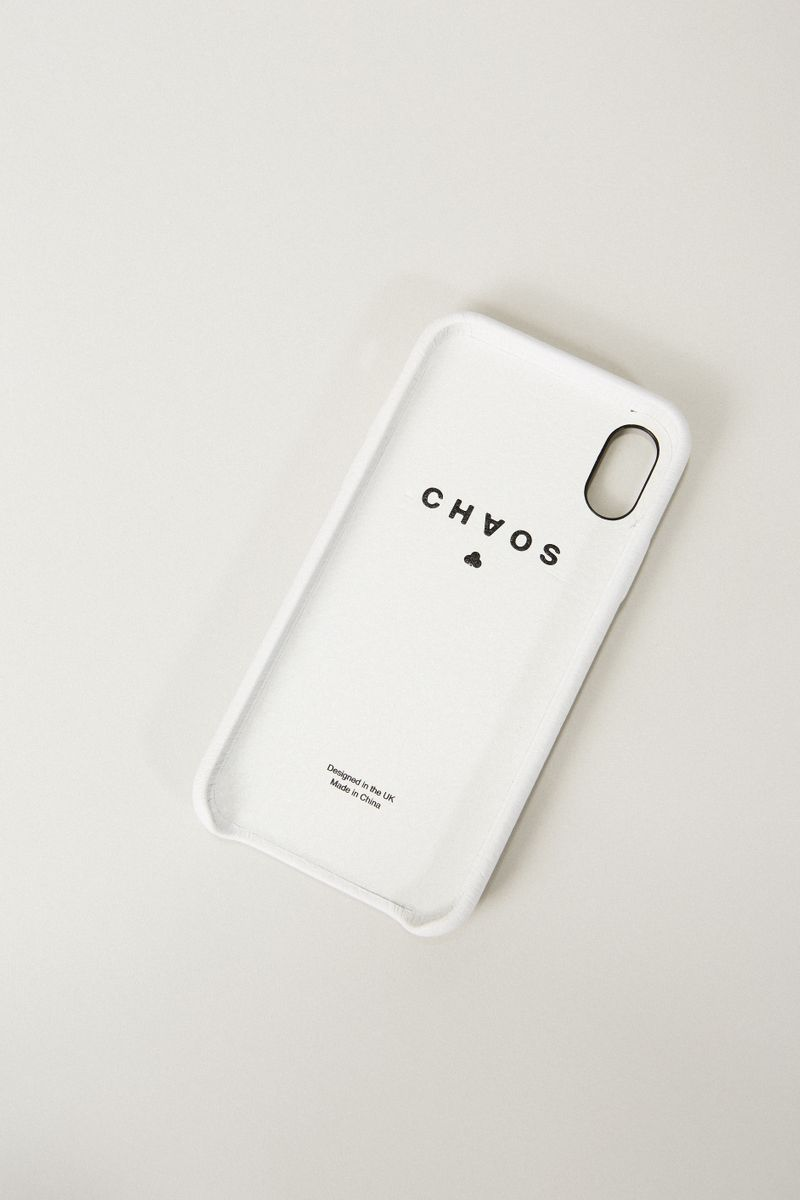 Iphone Case X mit Kirschenapplikation Weiß