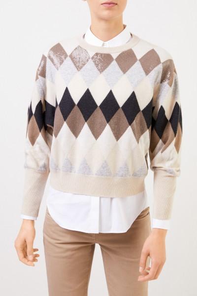 Brunello Cucinelli Woll-Cashmere-Pullover mit Karomuster Multi
