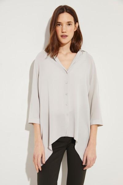 Seiden-Bluse 'Adora' mit asymmetrischem Saum Grau