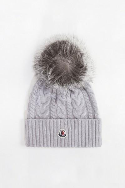 Moncler Wool cashmere cap with plait pattern light Grey