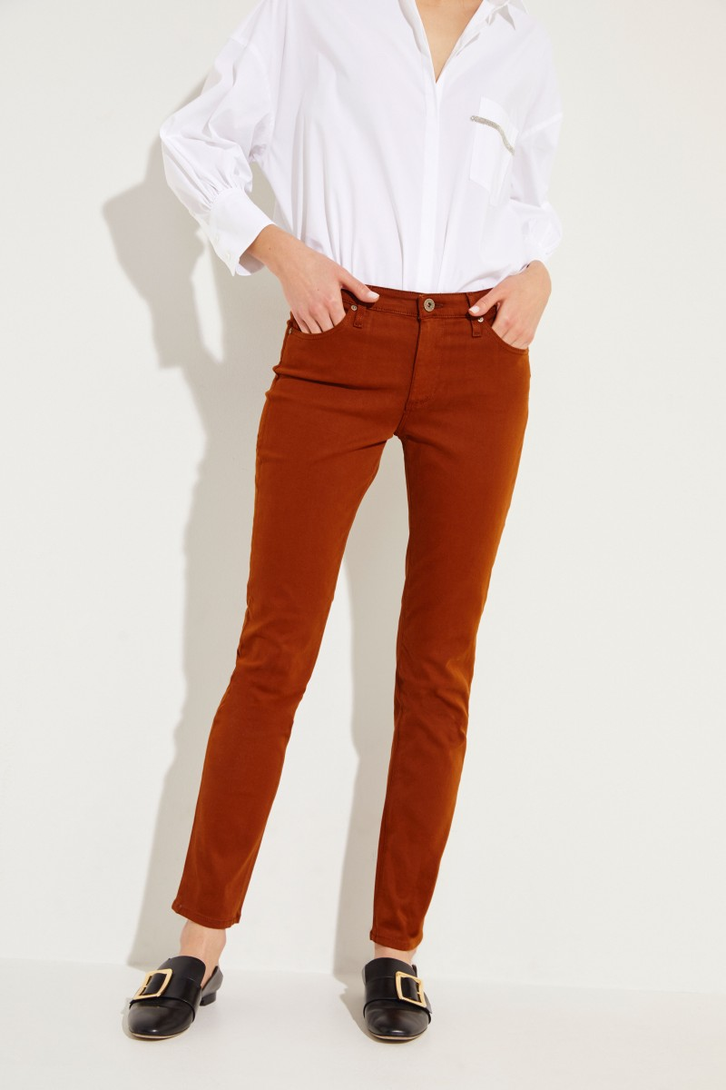 Cigarette Leg Jeans 'The Prima' Cognac