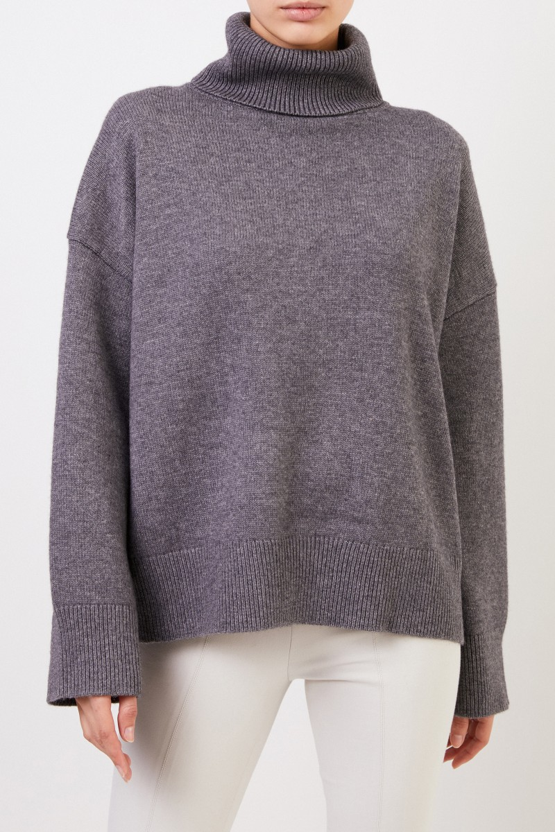 Co Woll-Cashmere-Pullover mit Turtleneck Anthrazit