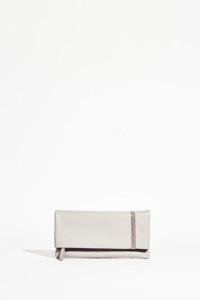 Leder-Clutch mit Perlenverzierung Grau