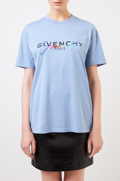 Givenchy T-Shirt with frontal logo embroidery Blue