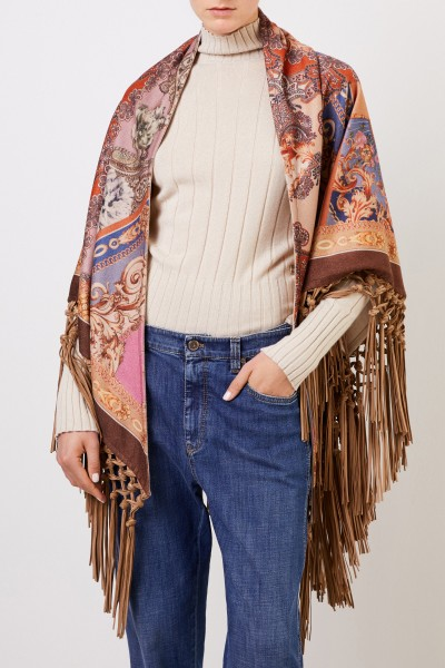Colombo Cashmere scarf with fringes Multi