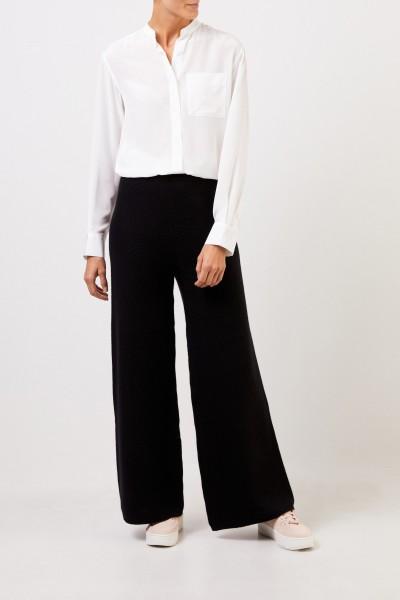 Uzwei Cashmere-Hose mit weitem Bein Schwarz