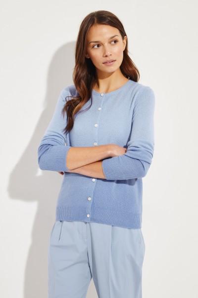 Cashmere-Cardigan 'Conny' mit Farbverlauf Blau