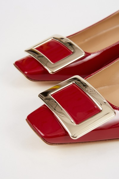 Roger Vivier Patent Leather Flat 'Belle Vivier' with Buckle Red