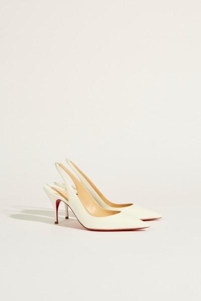 Lackleder-Slingback-Pump 'Clare Sling' Weiß
