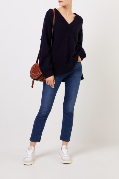 Long Cashmere Sweater with V-Neck Navy Blue