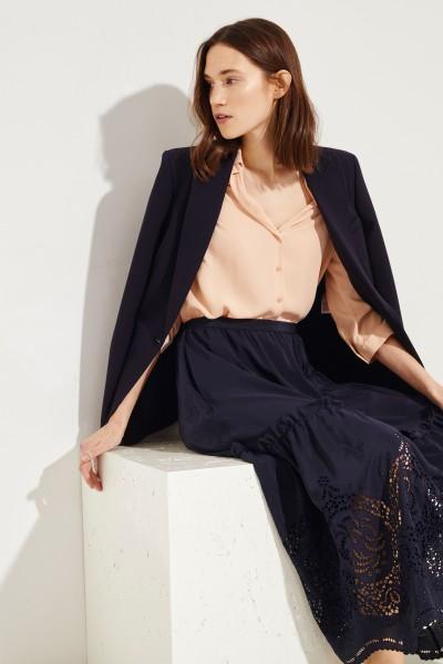 Seiden-Bluse 'Adora' mit asymmetrischem Saum Nude