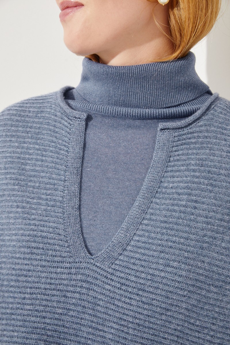 Oversize Woll-Cashmere-Pullover Blau