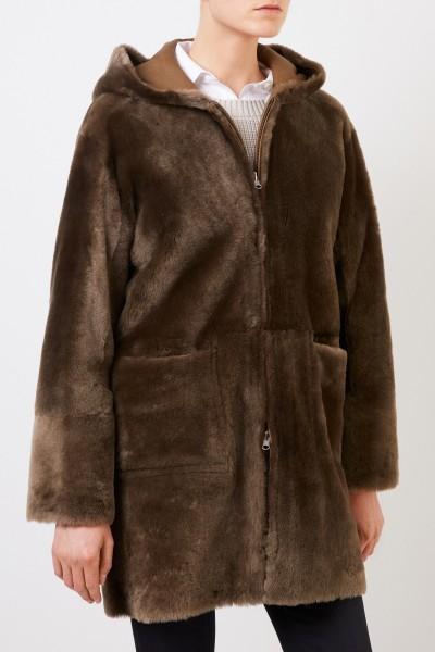 Benedetta Novi Reversible lambskin coat 'Ruby' with hood Khaki