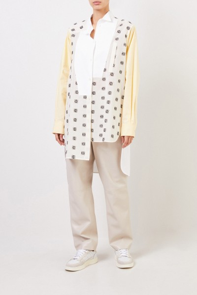 Loewe Cotton blouse with logo embroidery Yellow/White