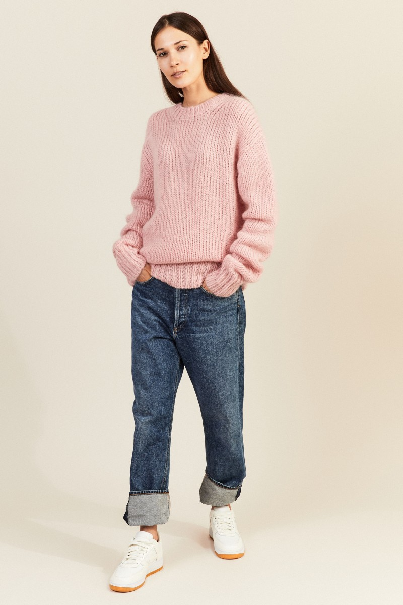 Mohair-Woll-Pullover Rosé