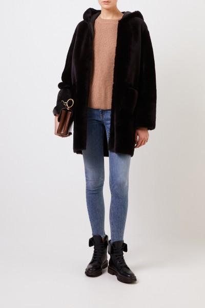 Reversible lambskin coat 'Ruby' with hood Dark Brown
