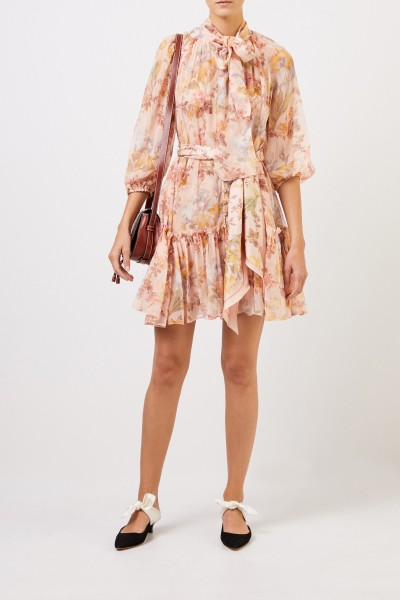 Two piece silk dress with floral print Multi