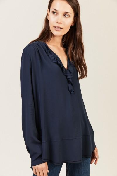 Leichte Bluse mit Volant 'Pearl' Marineblau