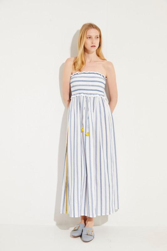 Baumwoll-Bandeau-Kleid 'Valentina Shirring' mit Stickerei Blau/Gelb