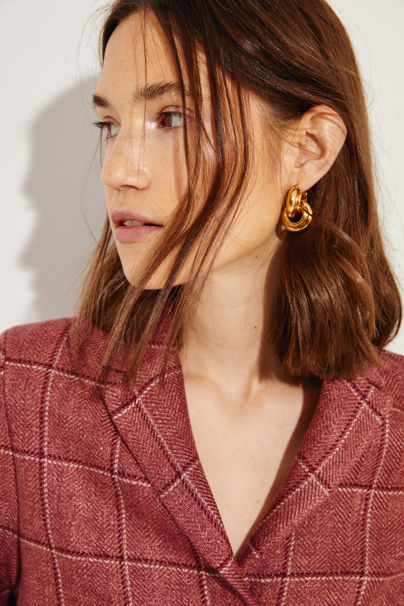 Karierter Woll-Blazer Rot/Rosé