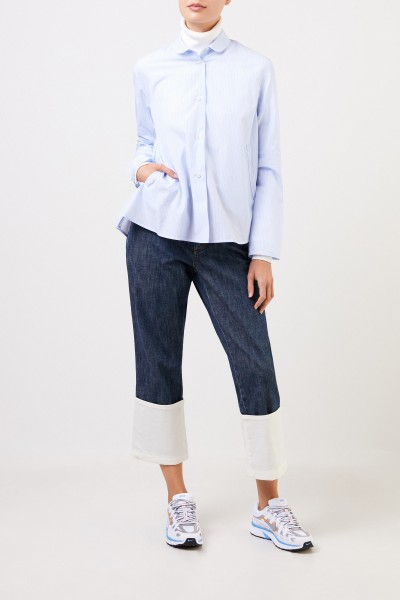 Robert Friedman Flared blouse with stripes Light Blue