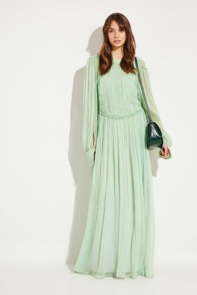 Langes Seiden-Kleid mit Raffungen Grün