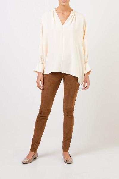Suede Leather Leggings Brown