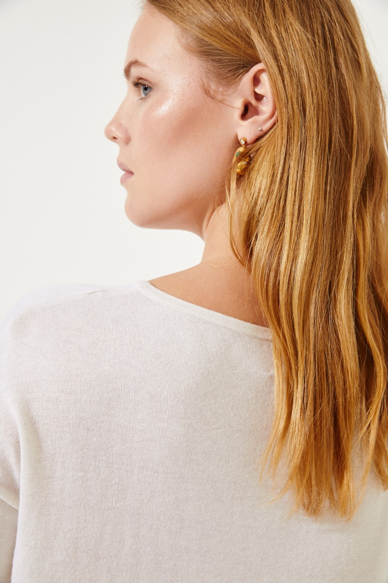 Seiden-Cashmere-Pullover Crème