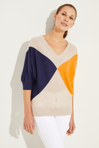 Cashmere-Pullover mit verkürzten Ärmeln Multi