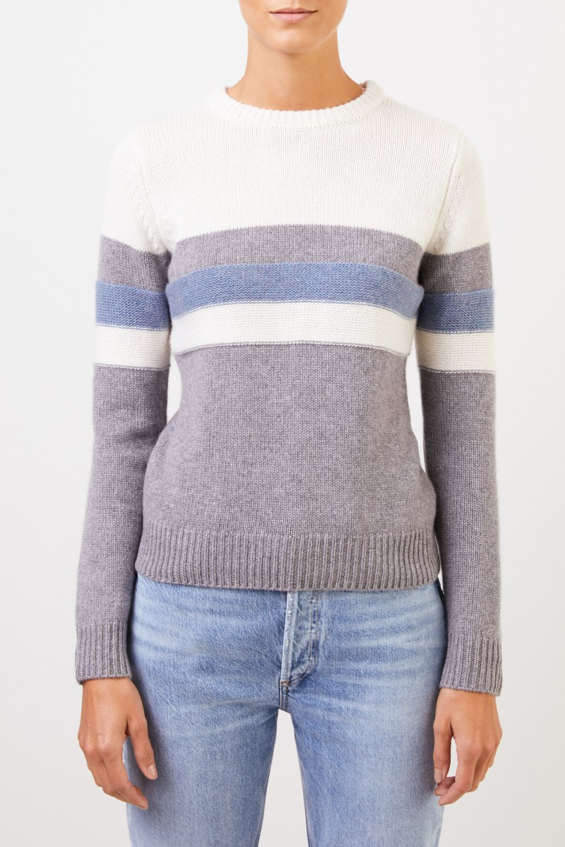 Uzwei Cashmere-Pullover in Colorblock Multi/Mittelblau