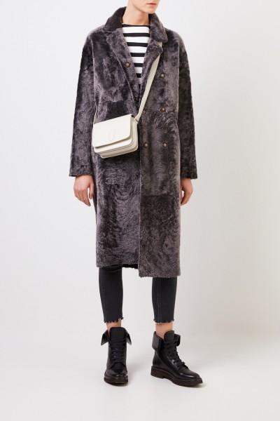 Reversible lambskin coat 'Thea' Grey