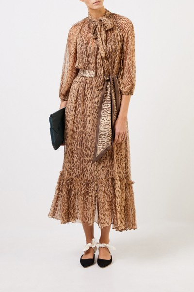 Long two piece silk dress with binding detail Brown