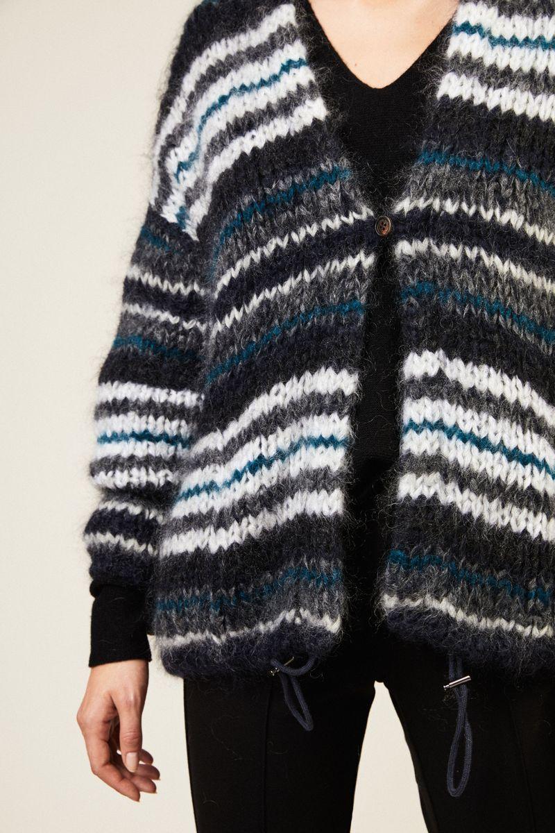 Oversize Mohair-Cardigan mit Tunnelzug Blau/Multi