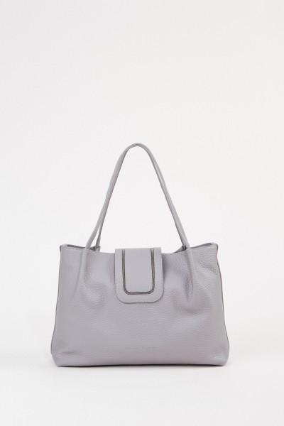Tasche mit Perlenverzierung Grau