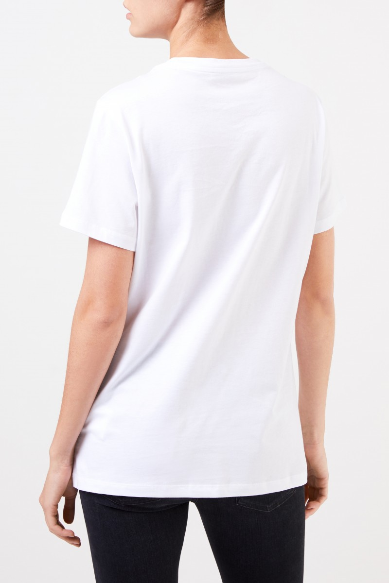Moncler T-Shirt mit frontalem Logo-Detail Weiß