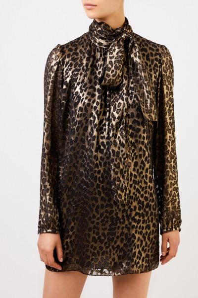 Saint Laurent Silk dress with leoprint Gold/Black