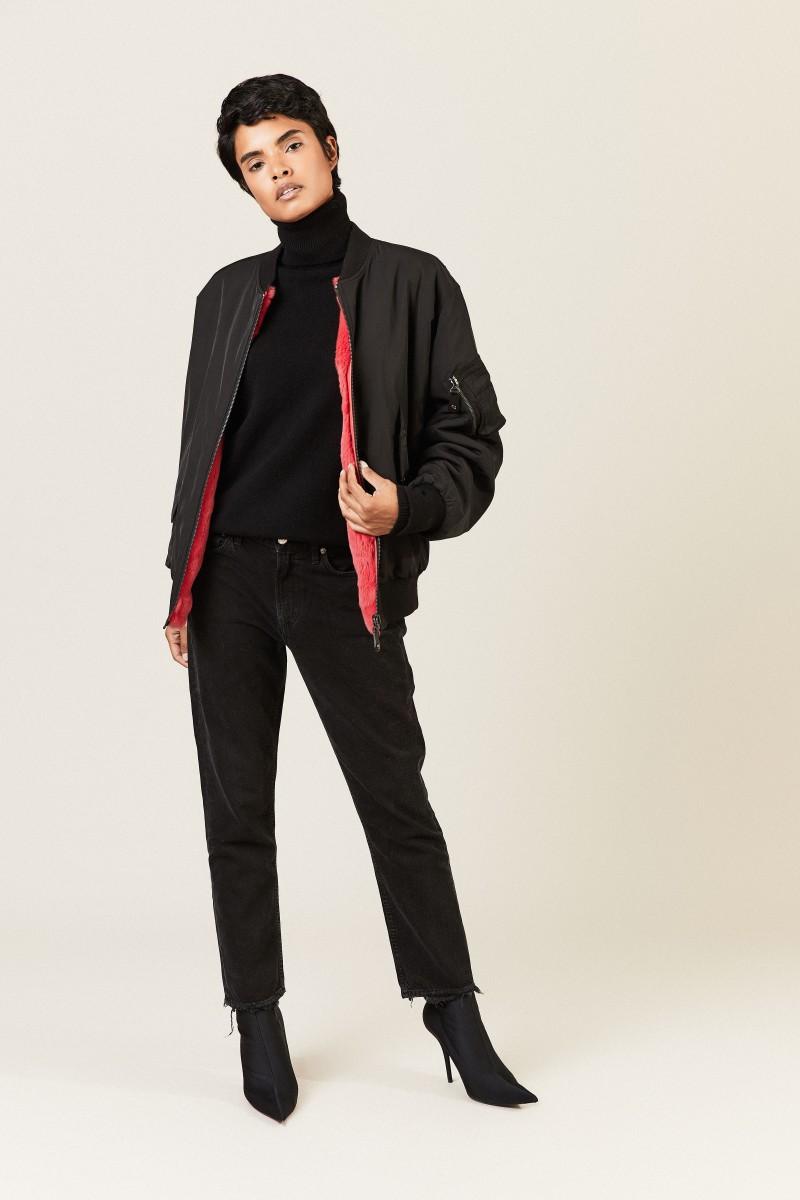 Wende-Jacke mit Fell Schwarz/Pink