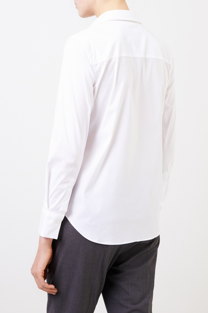 Brunello Cucinelli Klassische Baumwoll-Bluse mit Perlenverzierung Weiß
