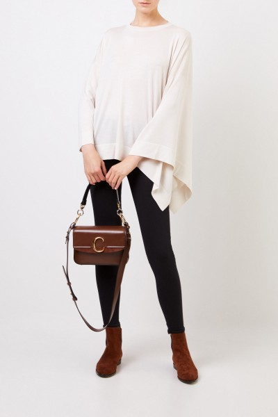 Asymmetrical wool-silk sweater Cream