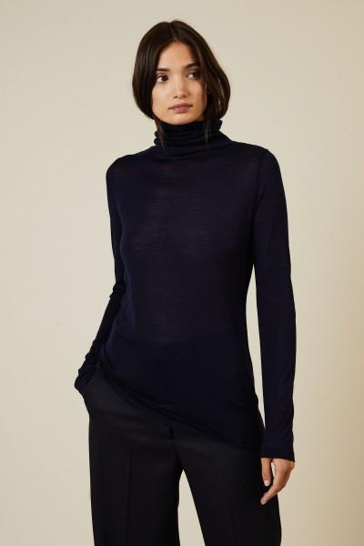 Woll-Seiden-Rollkragen Pullover Marineblau