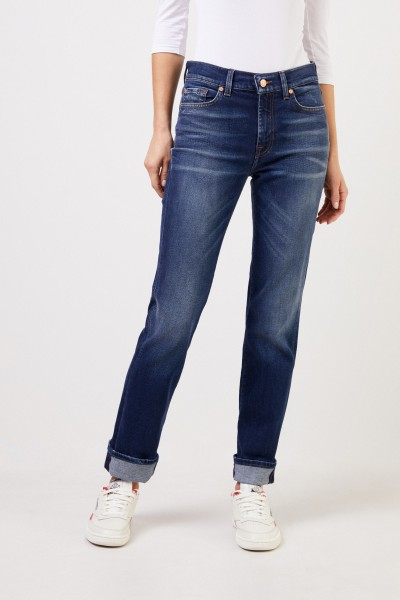 7 for all mankind Jeans 'The Straight' mit Waschung Blau