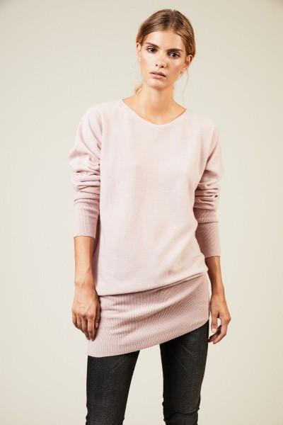 Langer Cashmere-Pullover Rosé