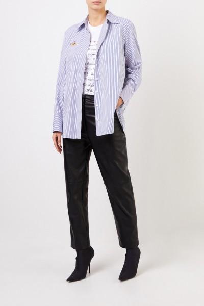 Gestreifte Bluse mit Stickerei Blau/Weiß