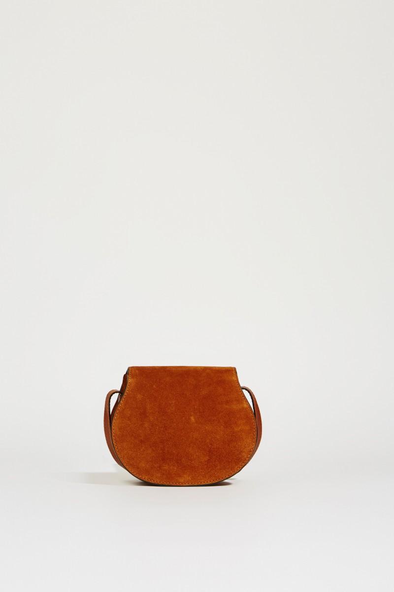 Veloursleder-Umhängetasche 'Marcie Saddle Mini' Caramel