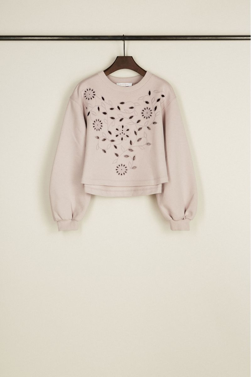 Gecropptes Sweatshirt mit Lochmuster Flieder