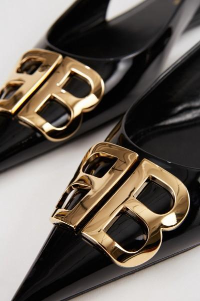 Balenciaga Sharpened Patent Leather Flat Black