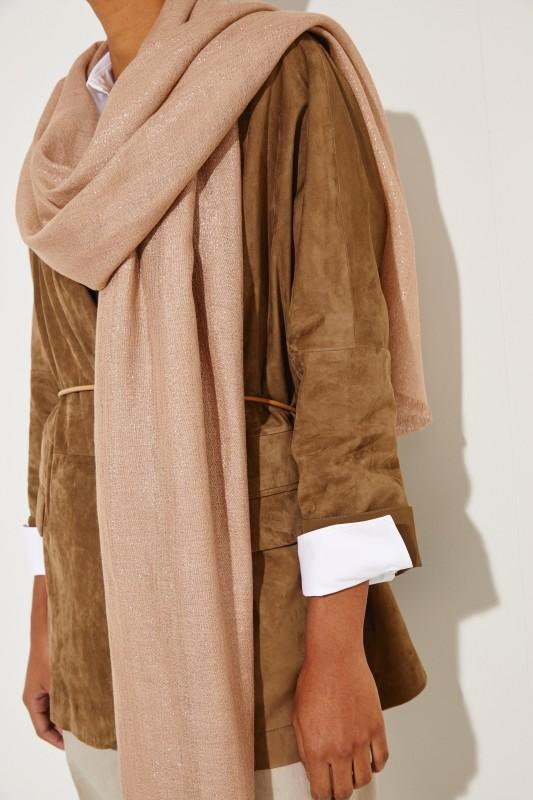 Cashmere-Seiden-Schal mit Lurexdetails Nude